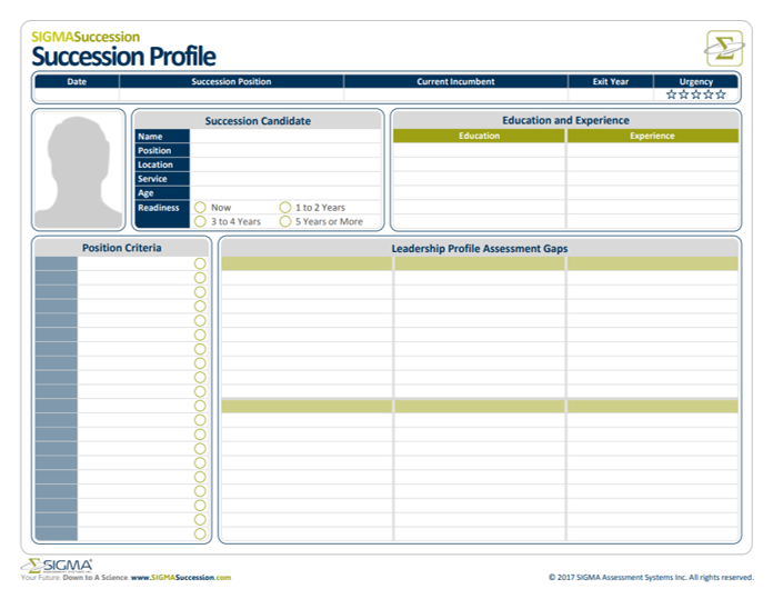 Succession profile template by SIGMA Assessment Systems