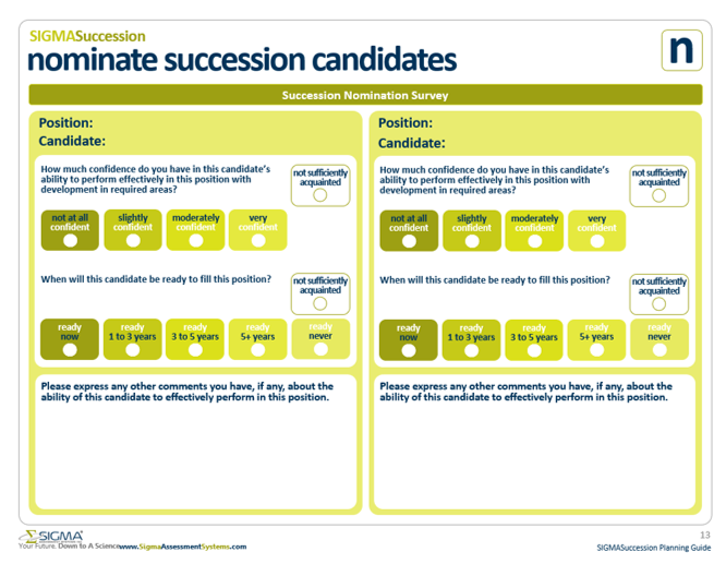 Succession Nomination Survey Template by SIGMA Assessment Systems